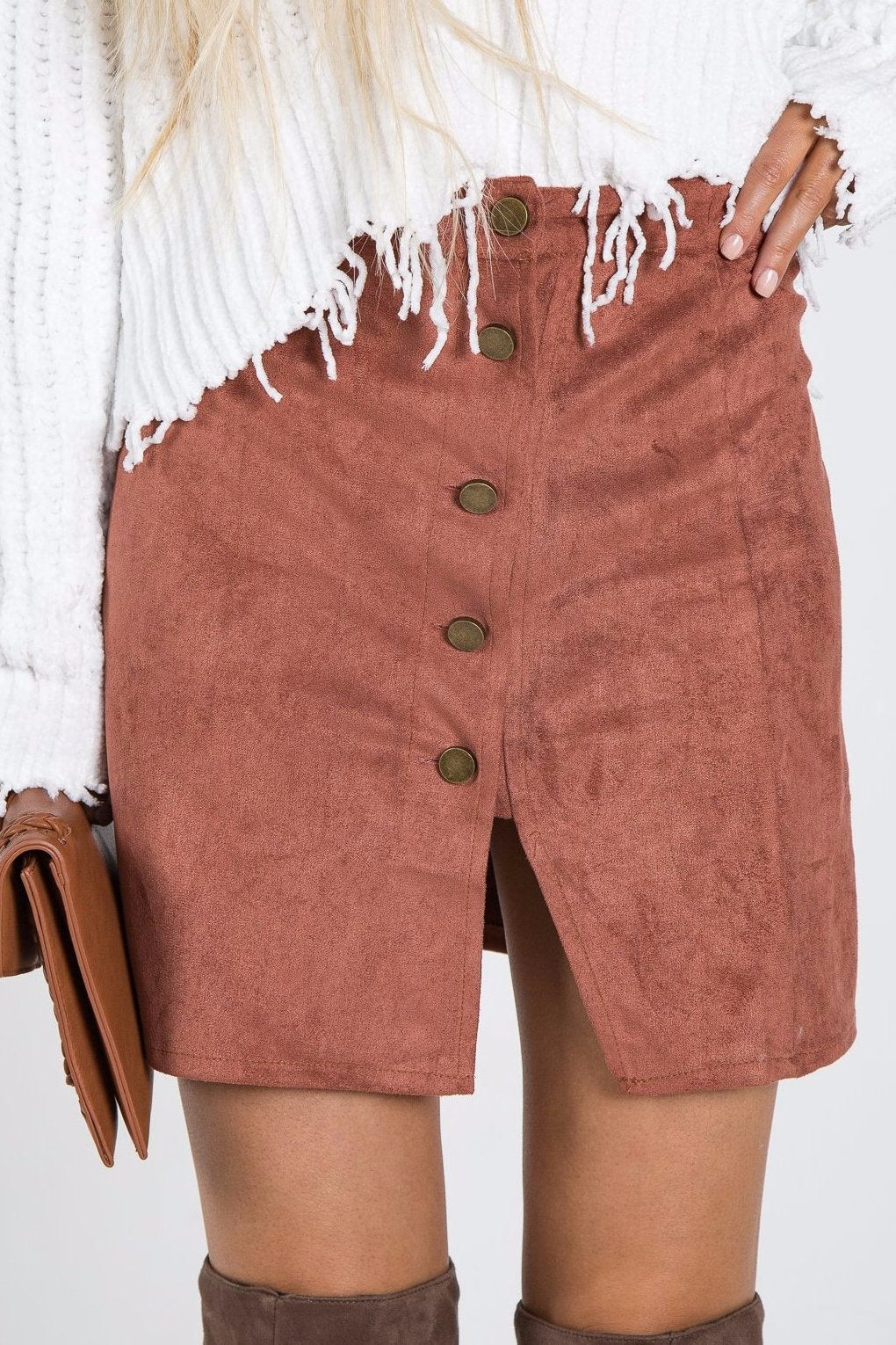 Florence Faux Suede Skirt Rust