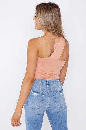 One Shoulder Bodysuit Peach
