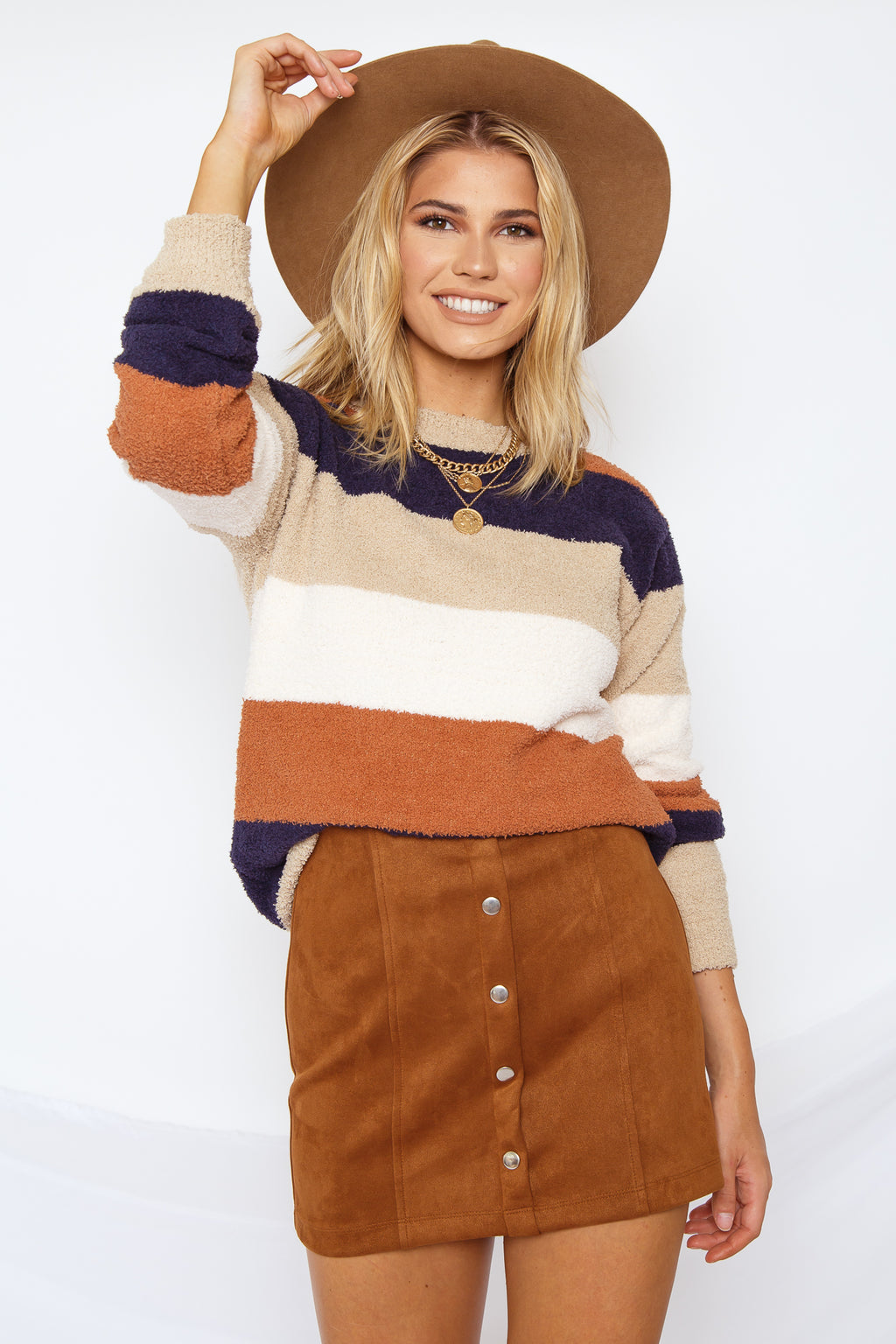 Color Stripe Soft Pullover Sweater