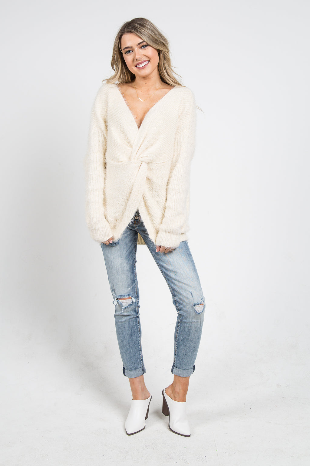 Alexa Open Back Sweater Cream