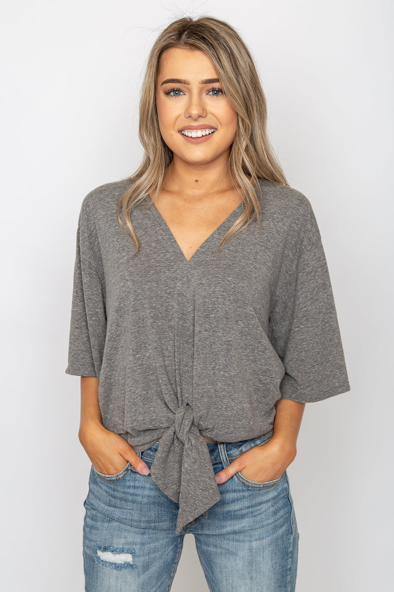 Jersey Front Tie Blouse