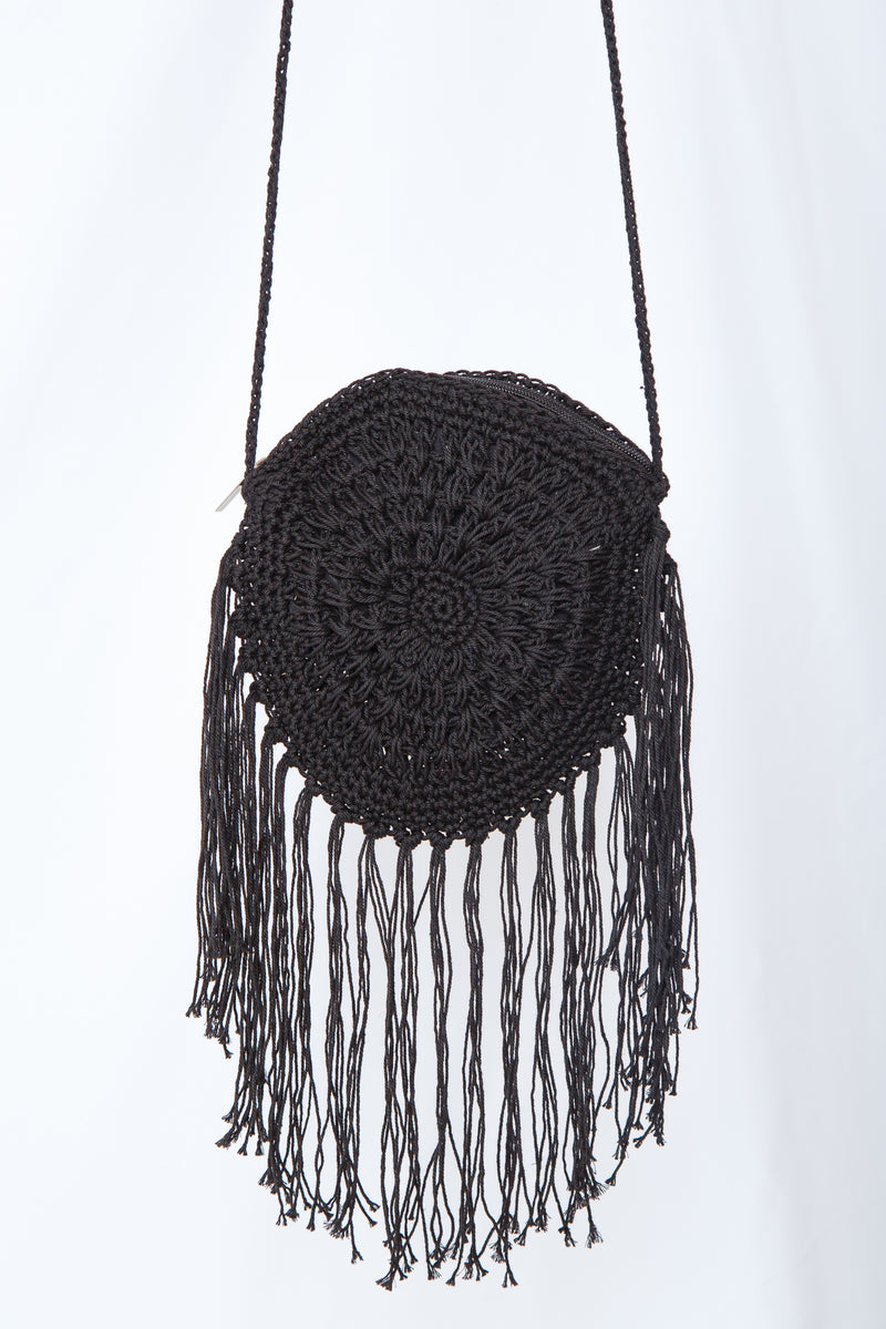 Boho Tassle Bag Black