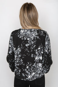 Corinne Floral Top Grey