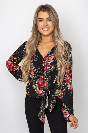 Corinne Floral Top Berry