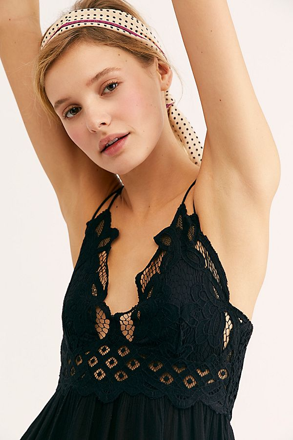 Free People Adella Slip Dress Black