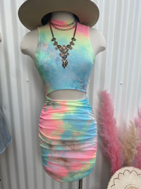 Tie Dye Cut Out Dress