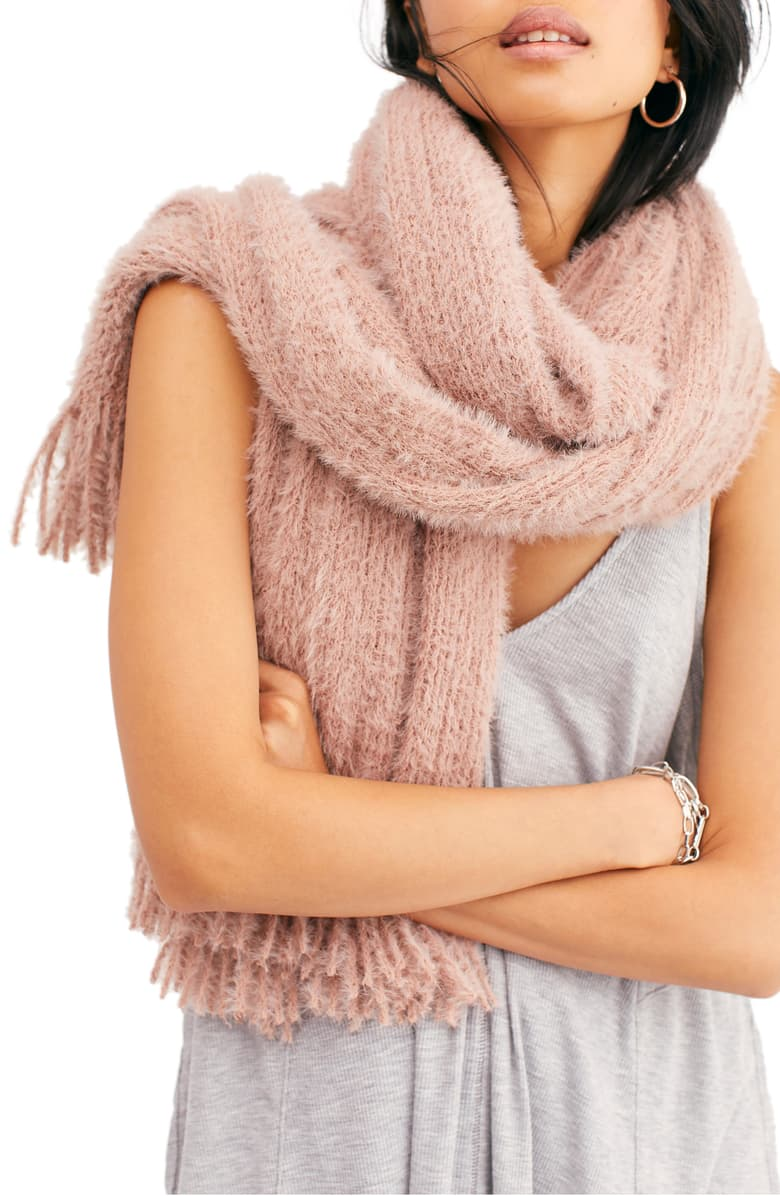Free People Whisper Fringe Blanket Scarf Taupe