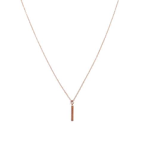 Rose Gold Drop Bar Necklace