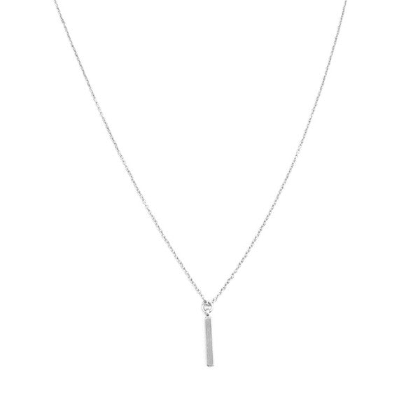 Silver Drop Bar Necklace