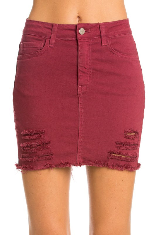 Kiara Distressed Denim Skirt