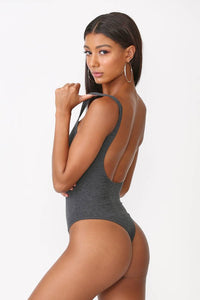 Lucy Low Back Bodysuit Charcoal