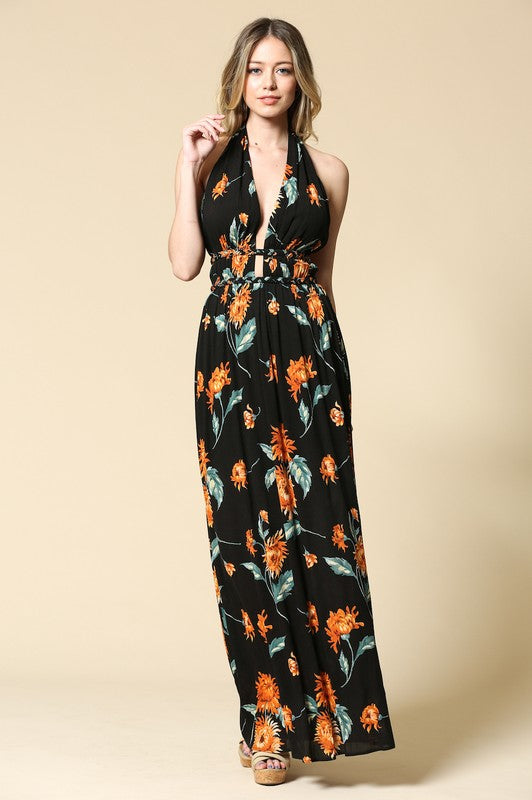 Lucinda Dress Black/Orange
