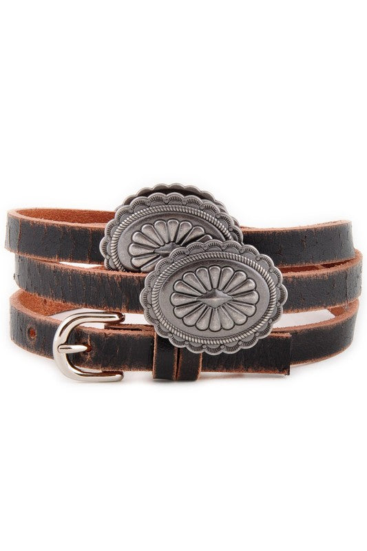 Leather Western Concho Skinny Belt