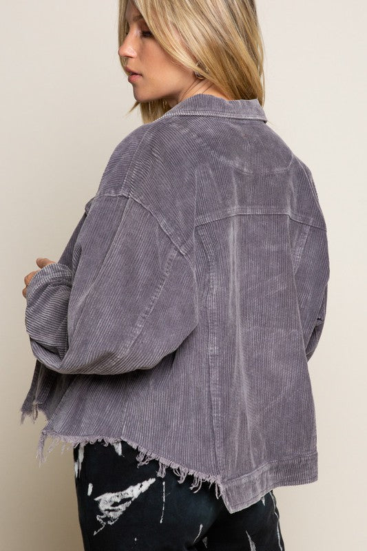 Asher Corduroy Jacket Charcoal