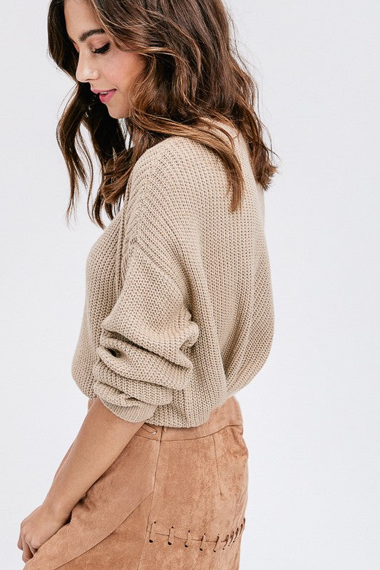 Grace Choker Sweater Beige