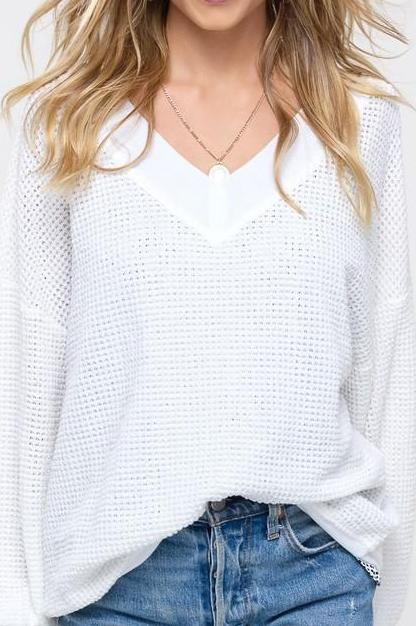 Carter Waffle Knit Top Ivory