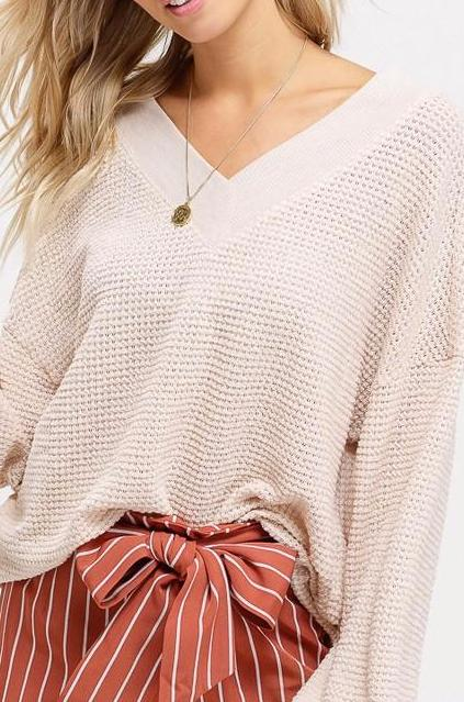 Carter Waffle Knit Top Natural