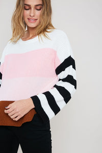 Skyline Sweater Ivory/Pink