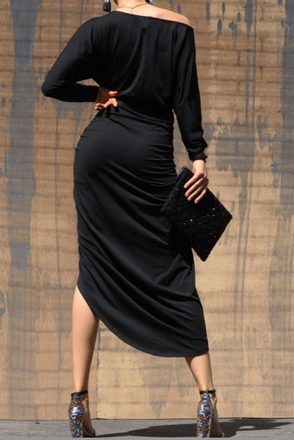 Angelina Ruched Dress Black