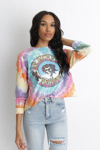The Grateful Dead Skull And Roses Tie Dye Long Sleeve Crop