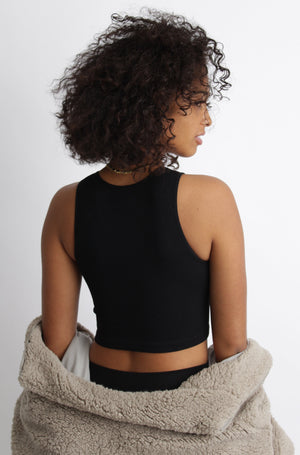 Ashley Ribbed Crop Top Black