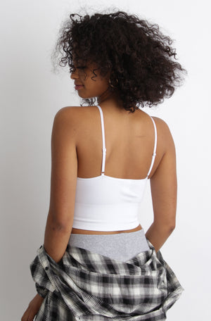 Beatrice Cropped Cami White