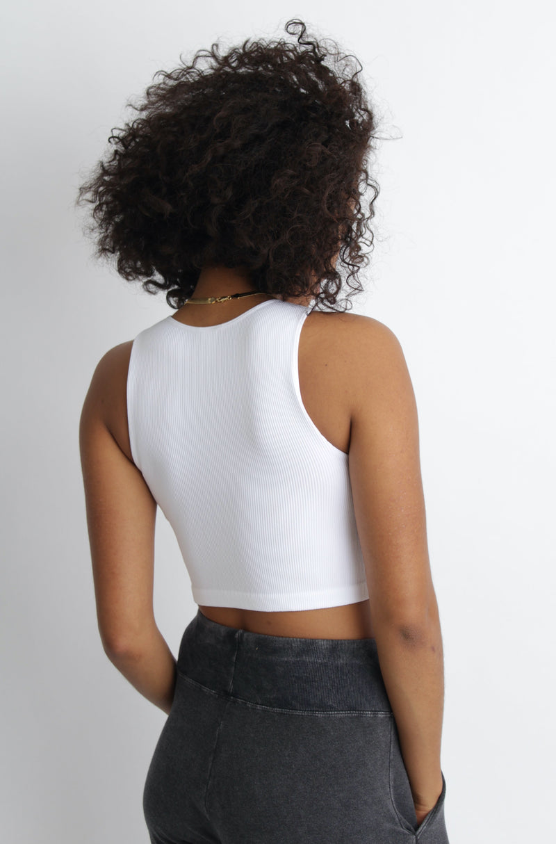 Ashley Ribbed Crop Top White
