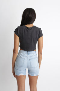 Winona Crop Top Charcoal