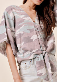 Casey Camo Front Tie Top Grey/Taupe