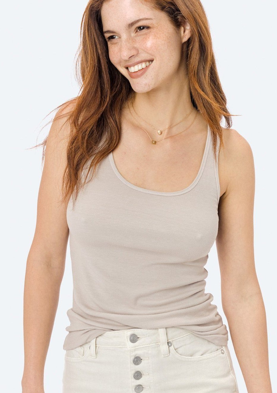 Kira Sleeveless Ribbed Tank Taupe