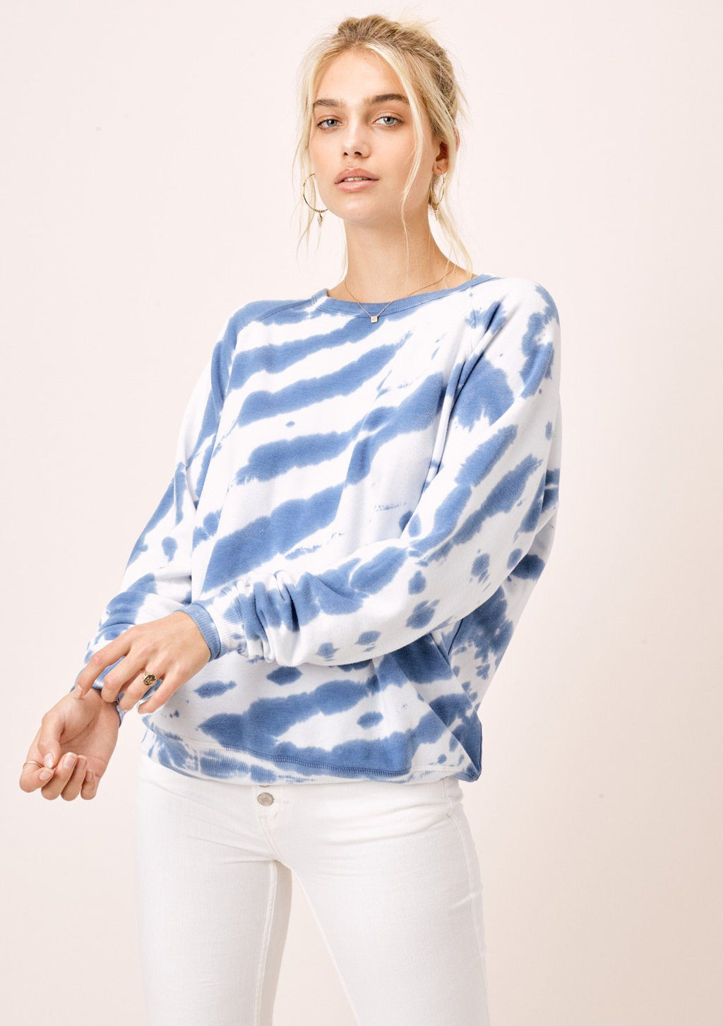 Like A Cloud Tie Dye Pullover Ivory/Blue