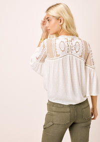 Whimsy Crochet Tie Front Top Cream