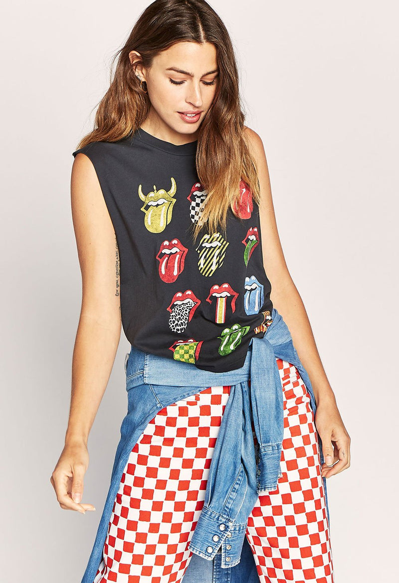 Rolling Stones 12 Tongues Rocker Muscle Tank