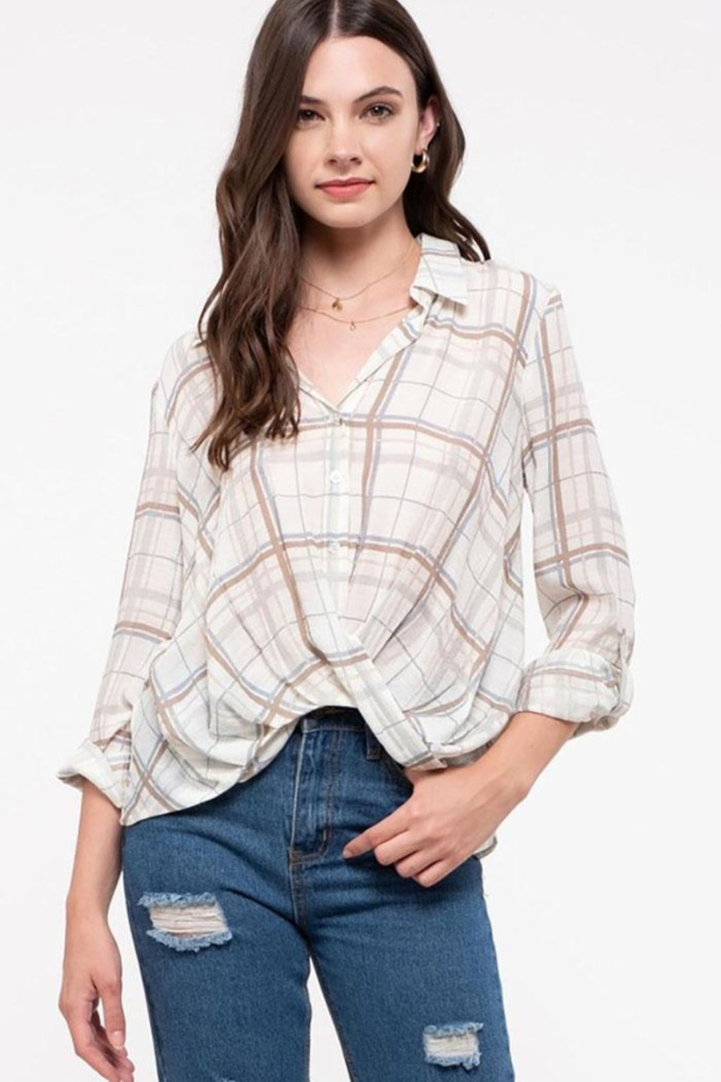 Carla Plaid Top