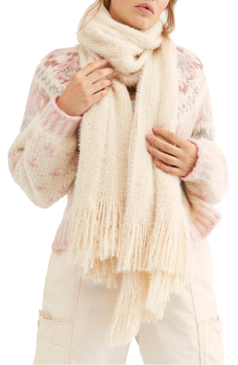 Free People Whisper Fringe Blanket Scarf Ivory