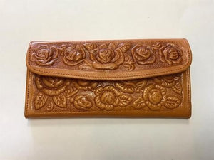Rose Embroidered Wallet Tan