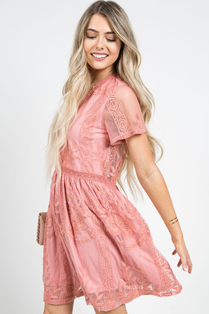 Chloe Cocktail Dress Salmon