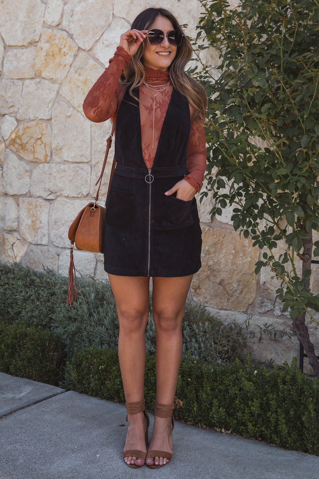 Midnight Corduroy Mini Dress