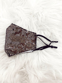 Sequin Face Mask Black/Gold