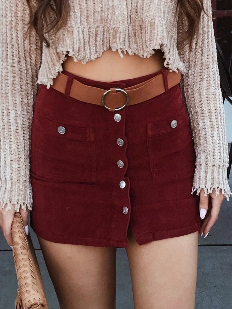 Destiny Corduroy Skirt Burgundy