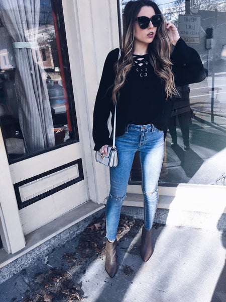 Lulu Lace Up Sweater