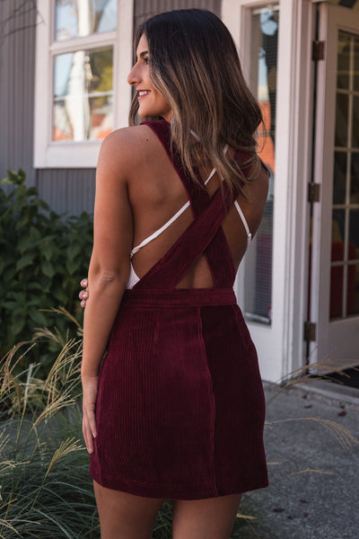 Cranberry Corduroy Mini Dress
