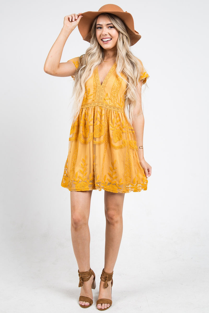 Chloe Cocktail Dress Mustard