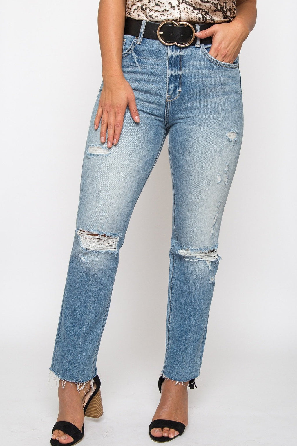 High Waist Distressed Jean