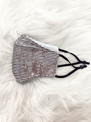 Sequin Face Mask Silver