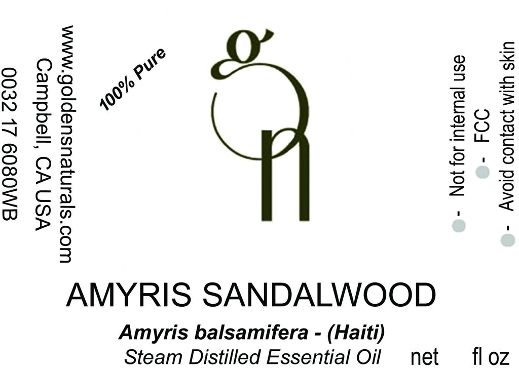 Amyris Sandalwood Essential Oil - Wholesale/Bulk, Essential Oils, Golden's Naturals - Golden's Naturals = quality essential oils at affordable prices