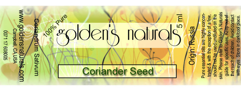 Coriander Seed Essential Oil, Essential Oils, Golden's Naturals - Golden's Naturals = quality essential oils at affordable prices