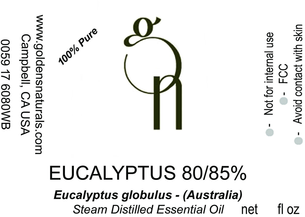 Eucalyptus 80/85% Essential Oil - Wholesale/Bulk, Essential Oils, Golden's Naturals - Golden's Naturals = quality essential oils at affordable prices