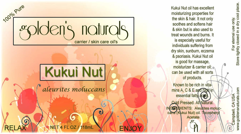 Kukui Nut Oil, Carrier Oil, Golden's Naturals - Golden's Naturals = quality essential oils at affordable prices