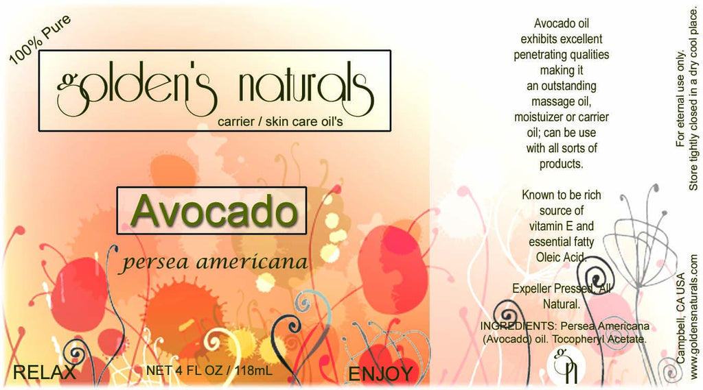 Avocado Oil, Carrier Oil, Golden's Naturals - Golden's Naturals = quality essential oils at affordable prices